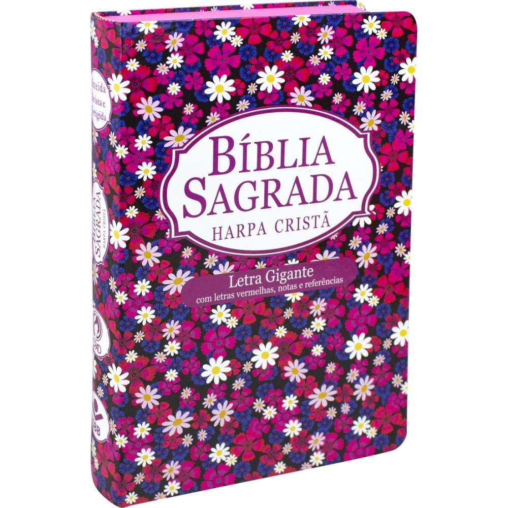 BIBLIA RC LETRA GIG S/INDICE C/HARPA CP DURA - FLORES