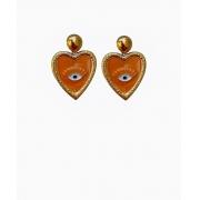 Brinco de olho com coração resinado laranja