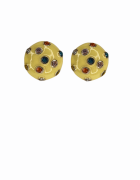 Brinco Redondo com Zirconias Coloridas - Resinado amarelo