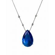 colar com pingente zircônia azul em gota