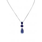 Colar com pingente de gota e micro zircônias Azul em ródio branco