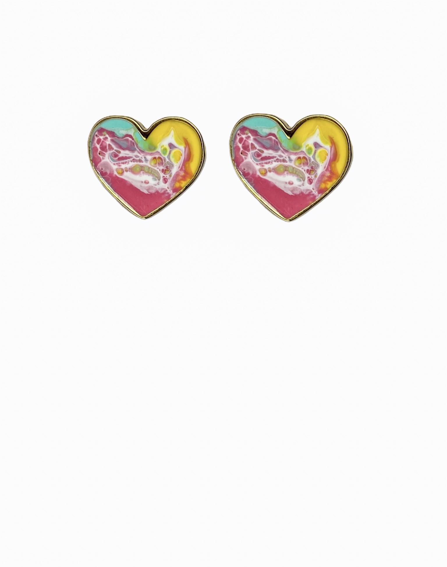 Brinco de  Coração Resinado cor Furta Cor