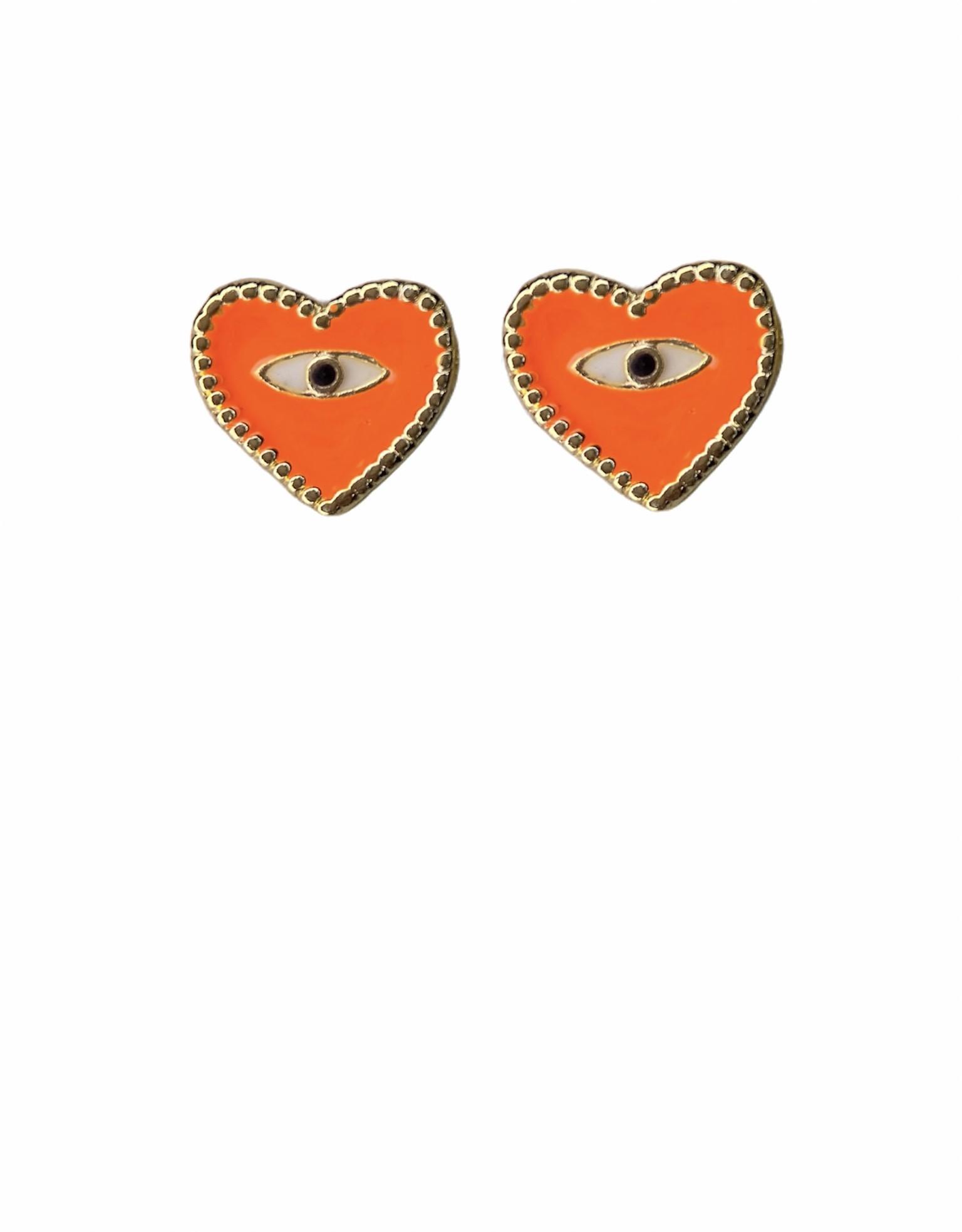 Brinco Coração resinado / Olho Grego - Banho em ouro 18K