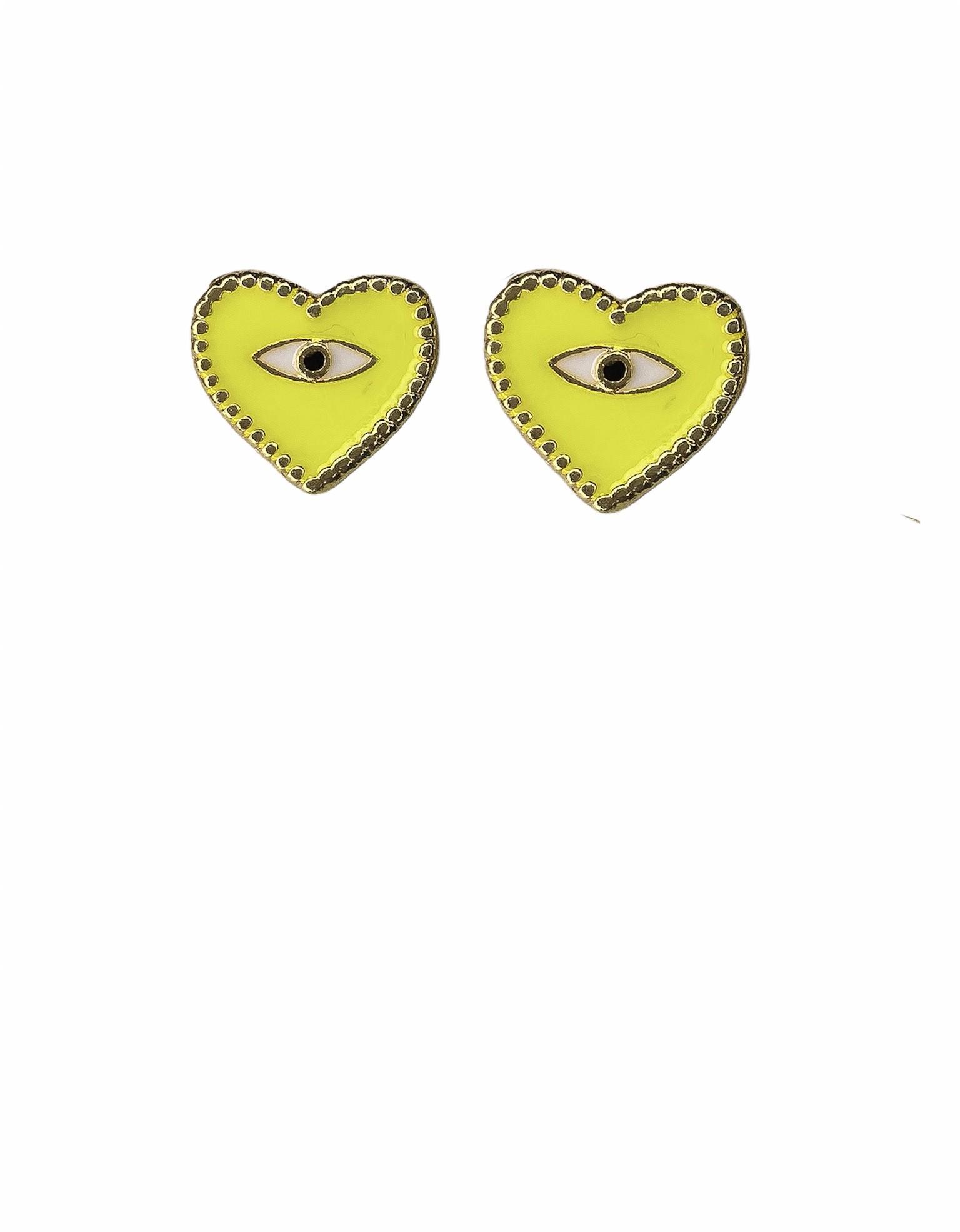 Brinco Coração Resinado / Olho grego verde neon - banho de ouro 18k