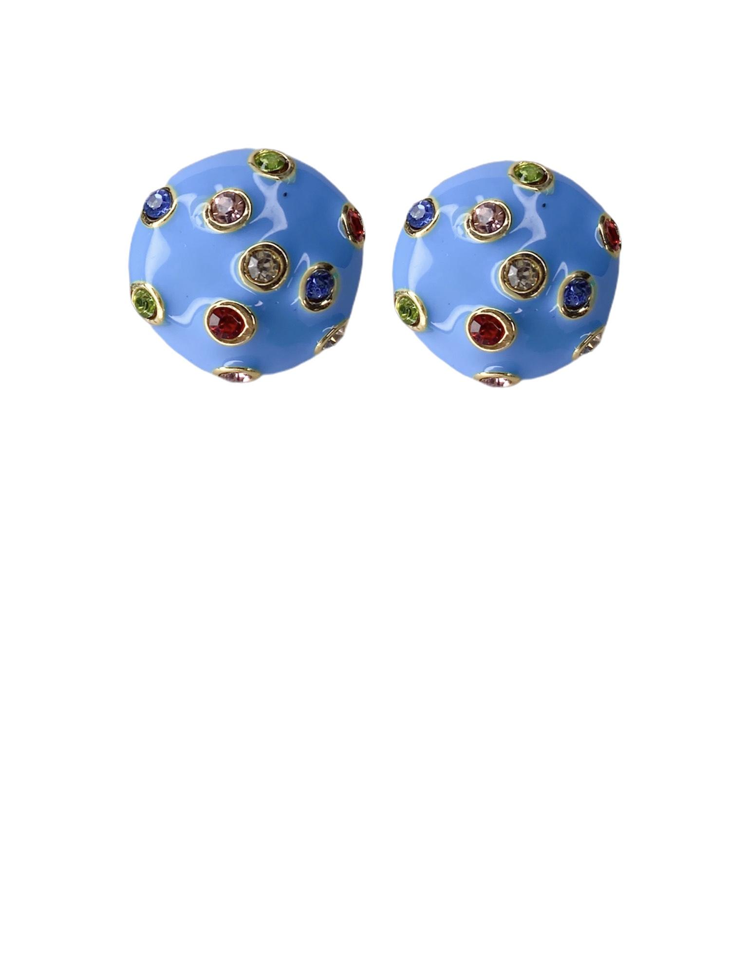 Brinco Redondo com Zirconias Coloridas - Resinado Azul Bebê