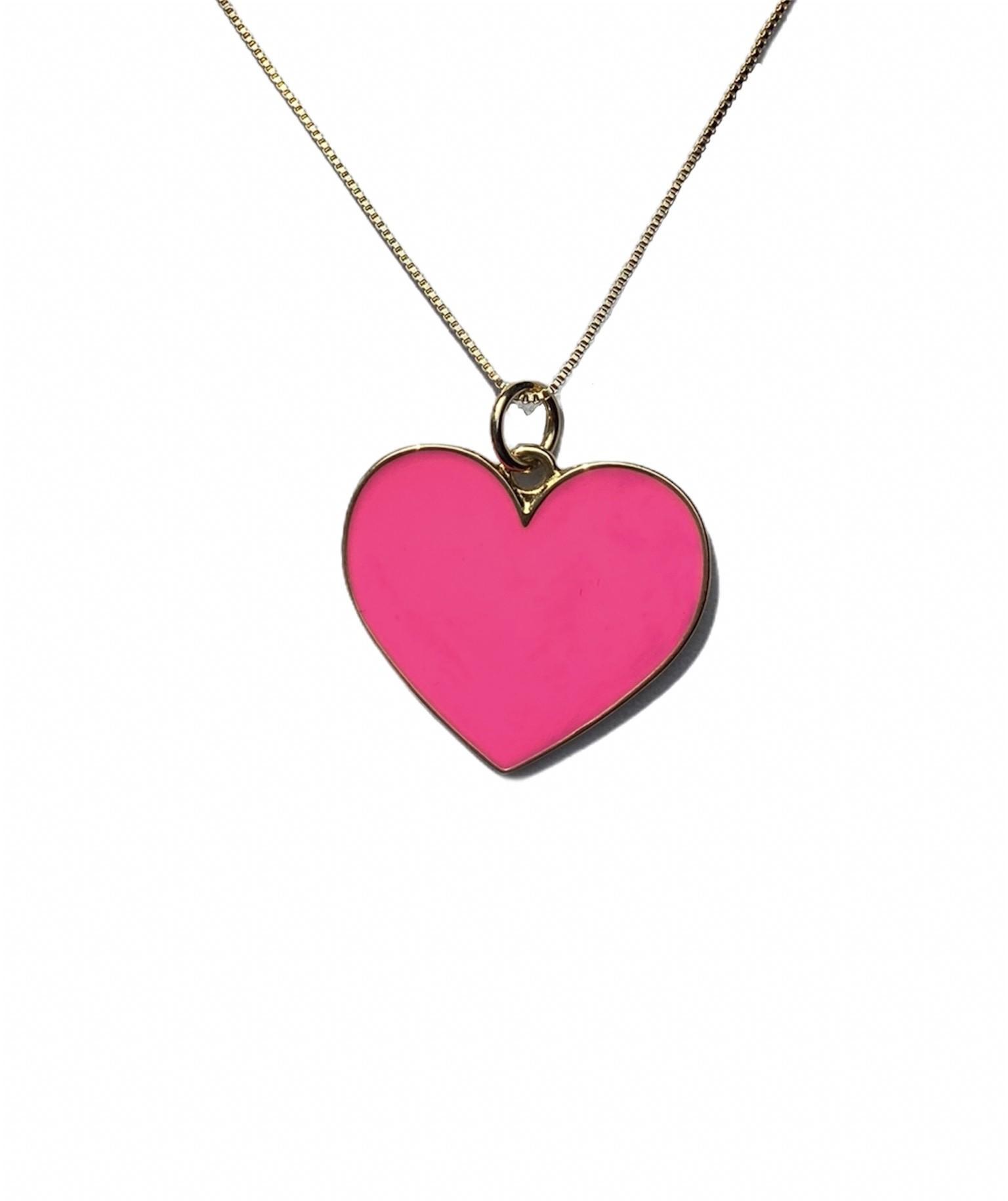 Colar com pingente de Coração Resinado cor Rosa Pink
