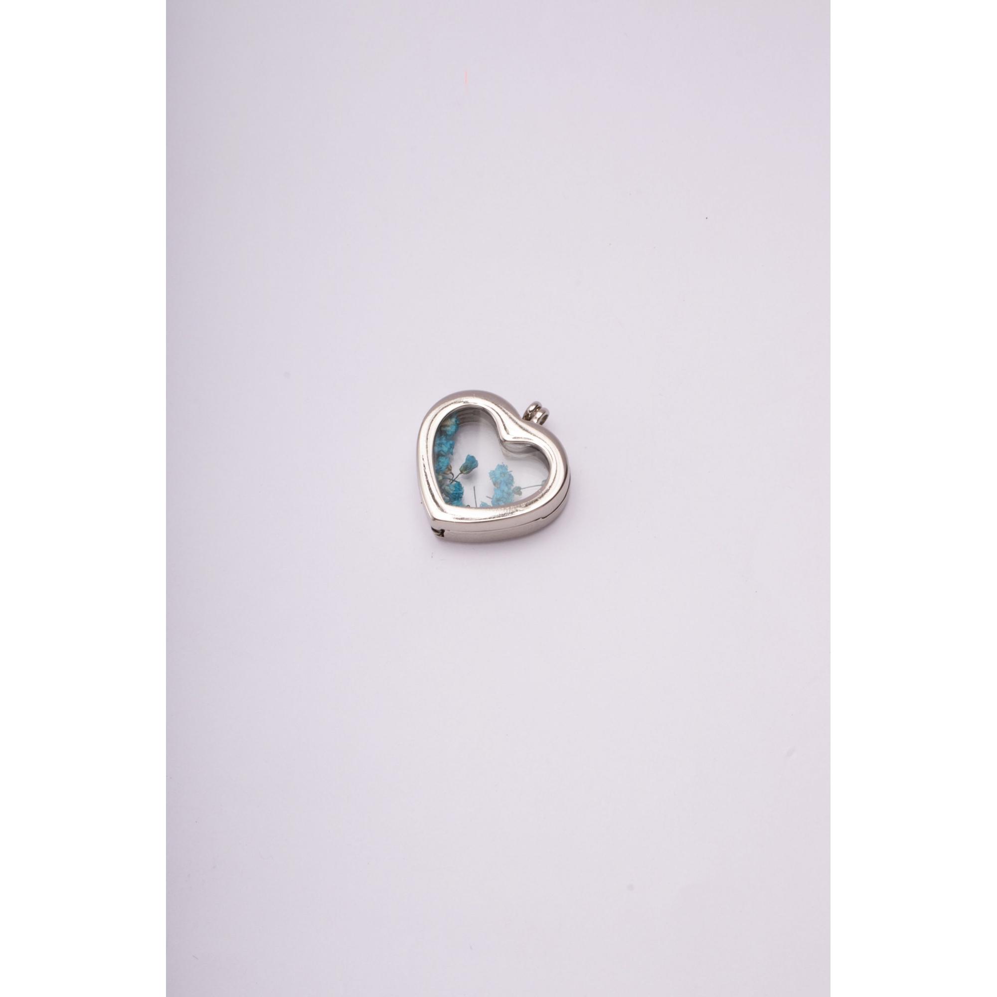 Pingente de cápsula de coração com flores azul