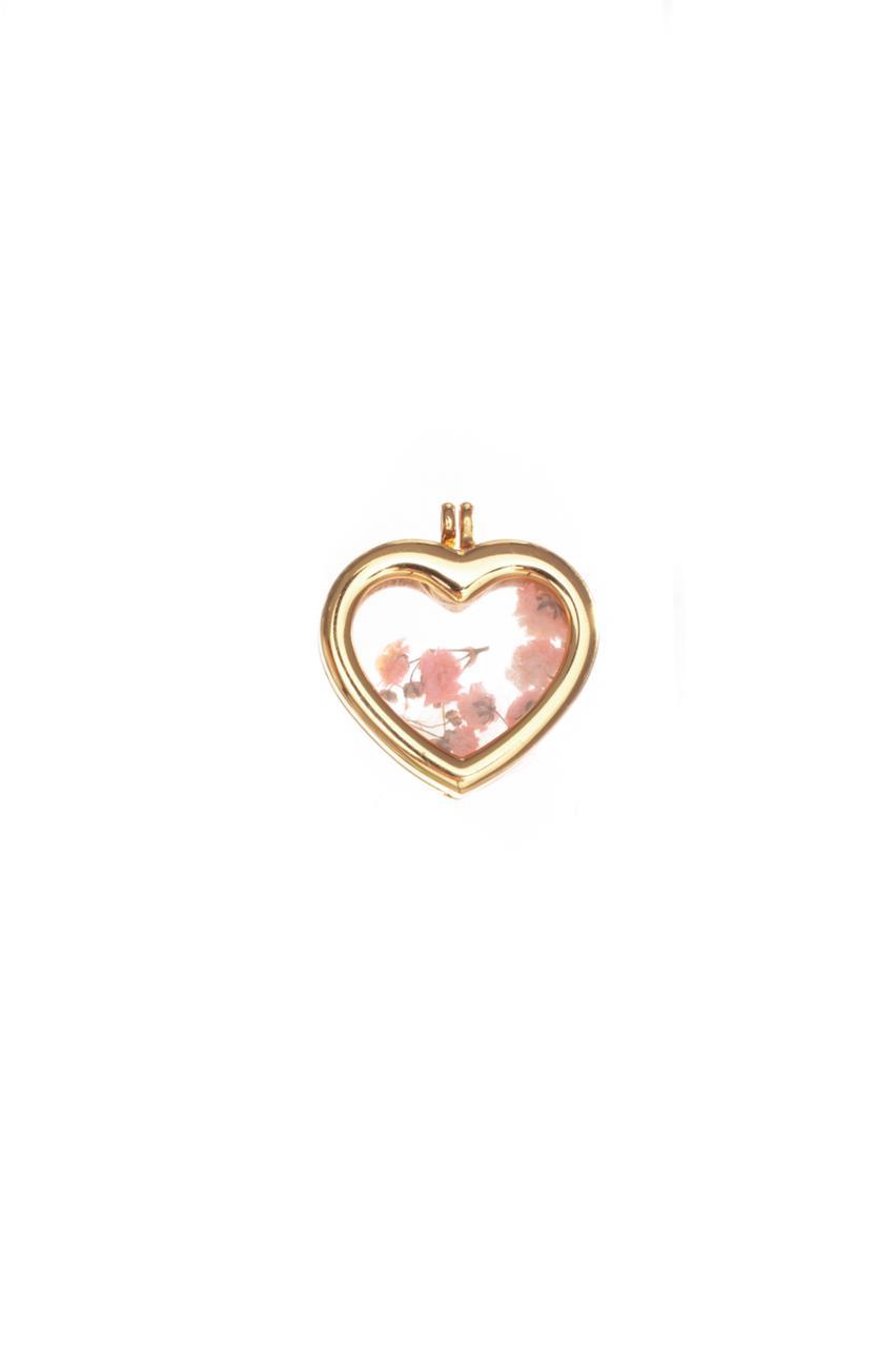 Pingente de cápsulas de coração com flor rosa