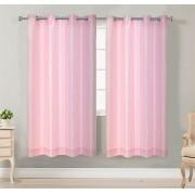 Cortina Paris para quarto ou sala - Voil liso rosa com forro 4,00x2,60 (5,60m)