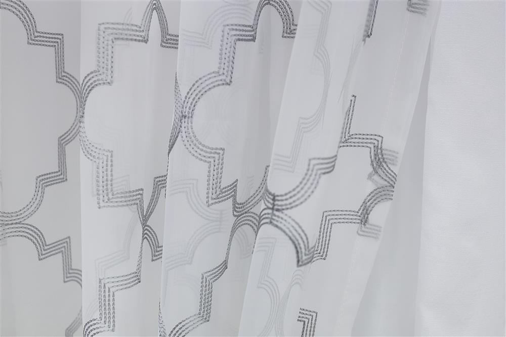 Cortina Sala e Quarto Voil Branco Bordado 5,60x2,60m