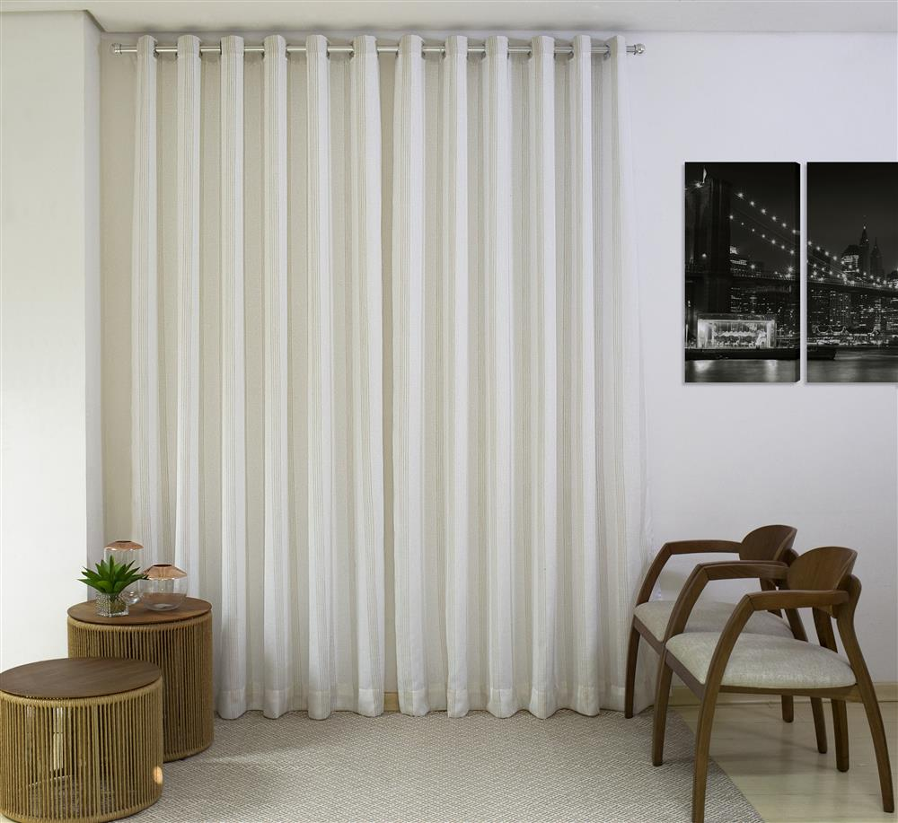 Kit 2 Cortinas Milano Duplex com Blackout 80% (4,00x2,60) Bege