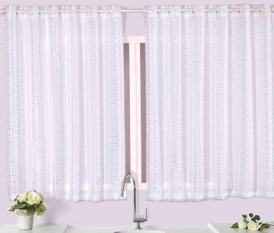 Kit cortinas voil com forro 2,50m x 1,45m e 2,30m x 1,30m