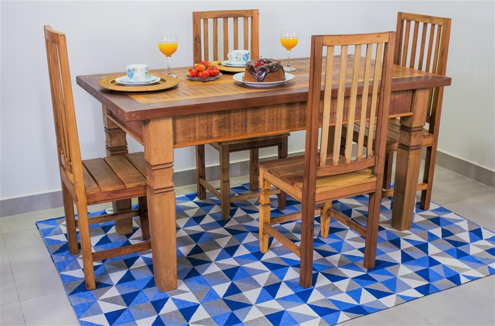 Tapete Geométrico Sala Antiderrapante Mosaico Azul 1,40x2,00m Jacquard
