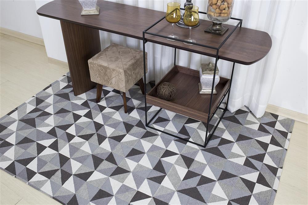 Tapete Geométrico Sala Antiderrapante Mosaico Marrom 1,40x2,00m Jacquard