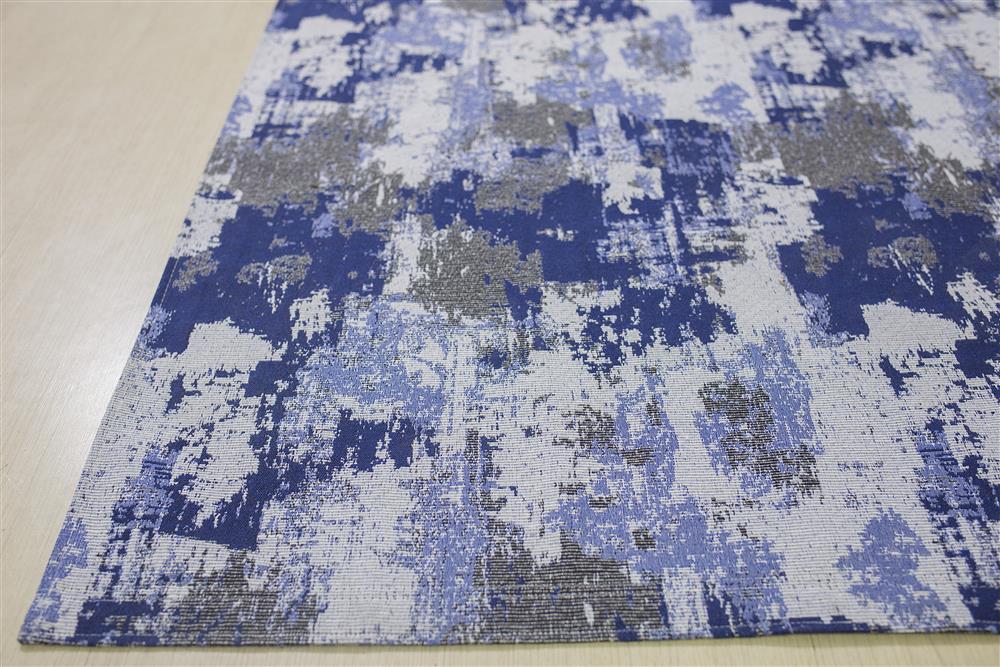 Tapete Sala Antiderrapante Rupestre Azul 1,40x2,00m Jacquard