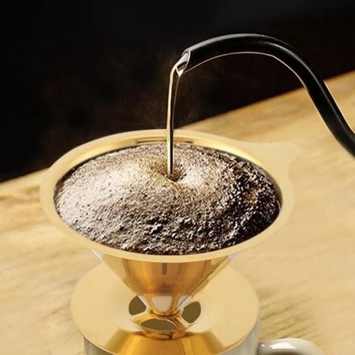 COADOR DE CAFÉ EM AÇO INOX DOURADO