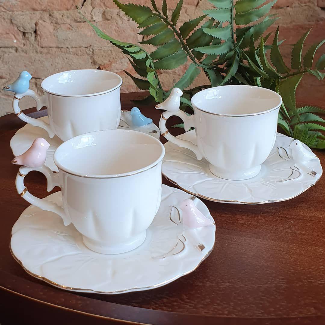 JOGO DE 6 XÍCARAS CAFÉ PORCELANA BIRDS ROUND PLATE COLORIDO 100ML