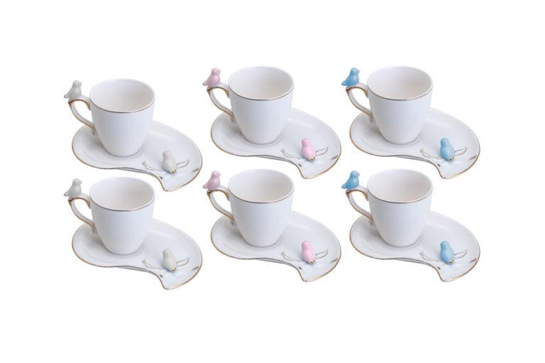 JOGO DE 6 XÍCARAS CAFÉ PORCELANA CUTE BIRDS DESIGN PLATE COLORIDO 80ML