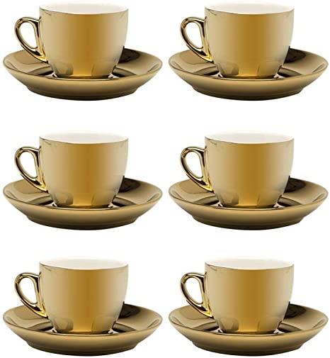 JOGO DE 6 XÍCARAS PARA CAFÉ COM PIRES CHROMINNO EM NEW BONE CHINA 80ML COR OURO E BRANCO