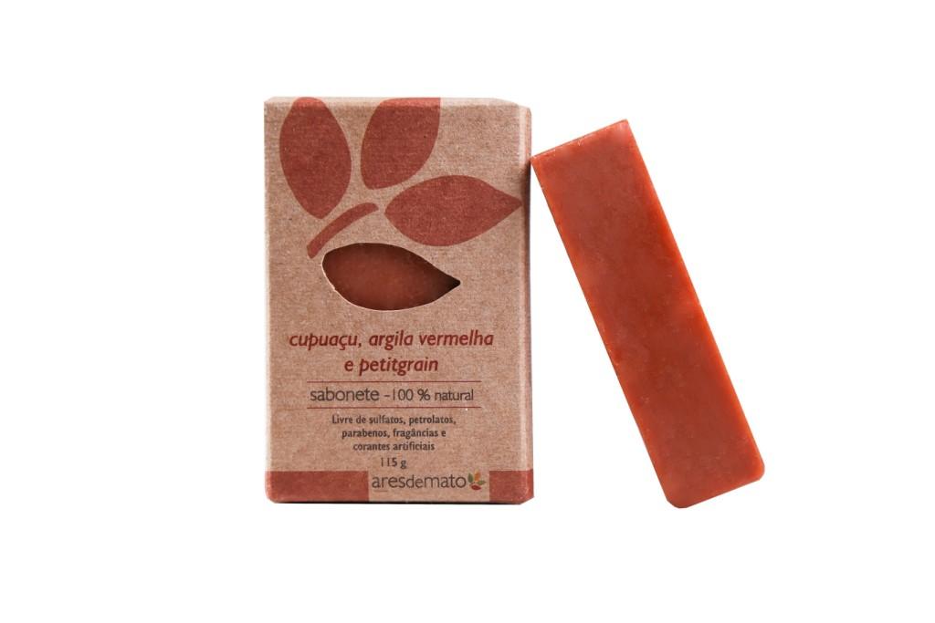 Sabonete cupuaçu, argila vermelha e petitgrain - Pele Normal, Oleosa e Madura - Facial e Corporal - Ares de Mato