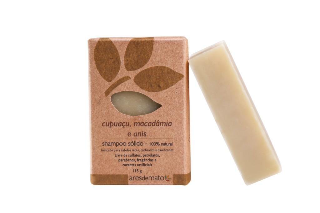 Shampoo Sólido Cupuaçu, Macadâmia e Anis - Cabelos secos, cacheados ou danificados - Ares de Mato
