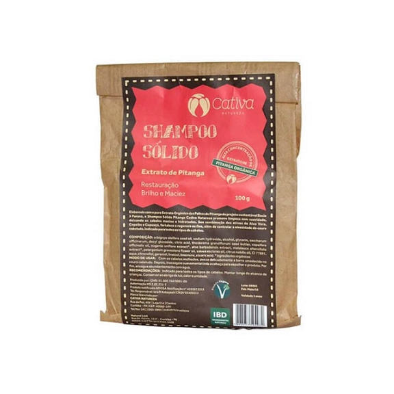 Shampoo Sólido Pitanga -100g - Cativa Natureza
