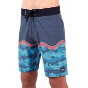 Bermuda Surf Infantil Vida Marinha Azul/Cinza