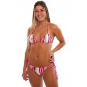 Biquíni Vida Marinha UV Protection Listrado Pink