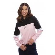 Blusa De Moletom Vida Marinha Fechado Preto/Rosa/Branco
