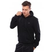 Blusa de Soft Vida Marinha Canguru Fechado Preto com Capuz