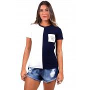 Blusinha Vida Marinha Manga Curta Branco/Azul