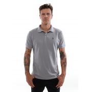 Camisa Polo Piquet Vida Marinha Manga Curta Cinza