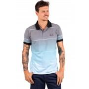 Camisa Polo Vida Marinha Manga Curta Cinza/Azul