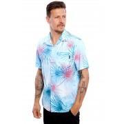 Camisa Vida Marinha Manga Curta Estampada Azul