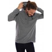 Camiseta Plus Size Vida Marinha Manga Longa Cinza com Capuz
