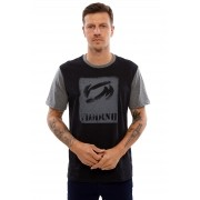 Camiseta Vida Marinha Manga Curta Preto/Cinza