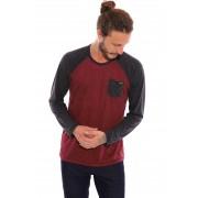 Camiseta Vida Marinha Manga Longa Tecido Especial Bordô/Preto
