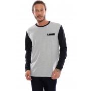 Camiseta Plus Size Vida Marinha Manga Longa Cinza/Preto