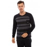 Camiseta Vida Marinha Manga Longa Preta com Bolso