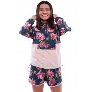 Conjunto Vida Marinha Corta Vento + Short Floral Rosa/Azul