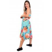 Conjunto Vida Marinha Regata + Saia Midi Viscose Floral Azul