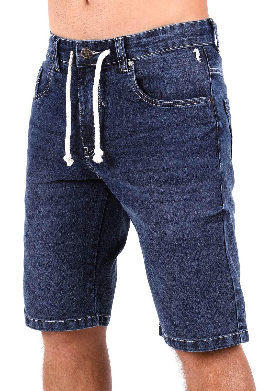 Bermuda Jeans Vida Marinha Cós Ajustável Azul