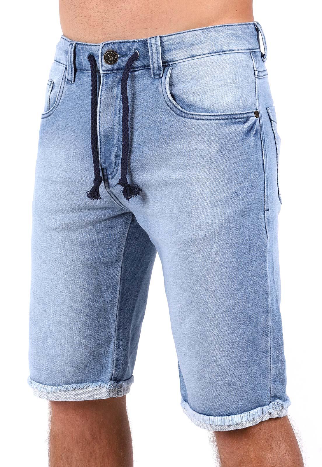Bermuda Jeans Vida Marinha Cós Ajustável Azul Claro