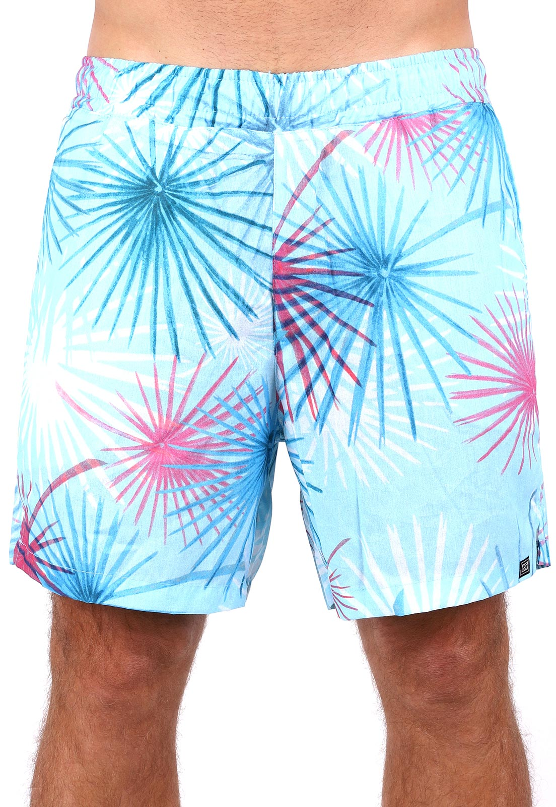 Bermuda Praia Vida Marinha Short Tricoline Azul