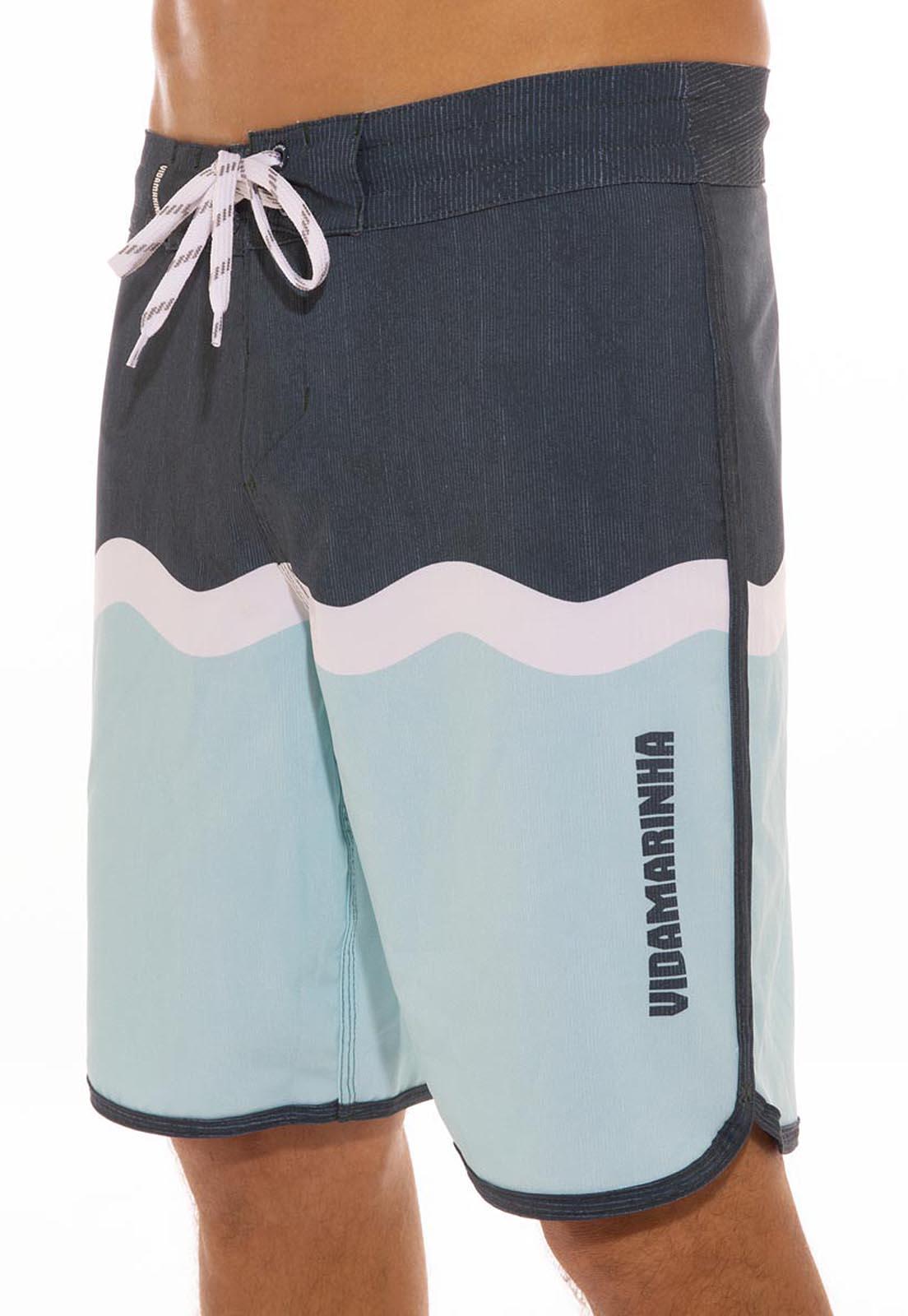 Bermuda Vida Marinha Surf Azul-Marinho/Branco/Azul