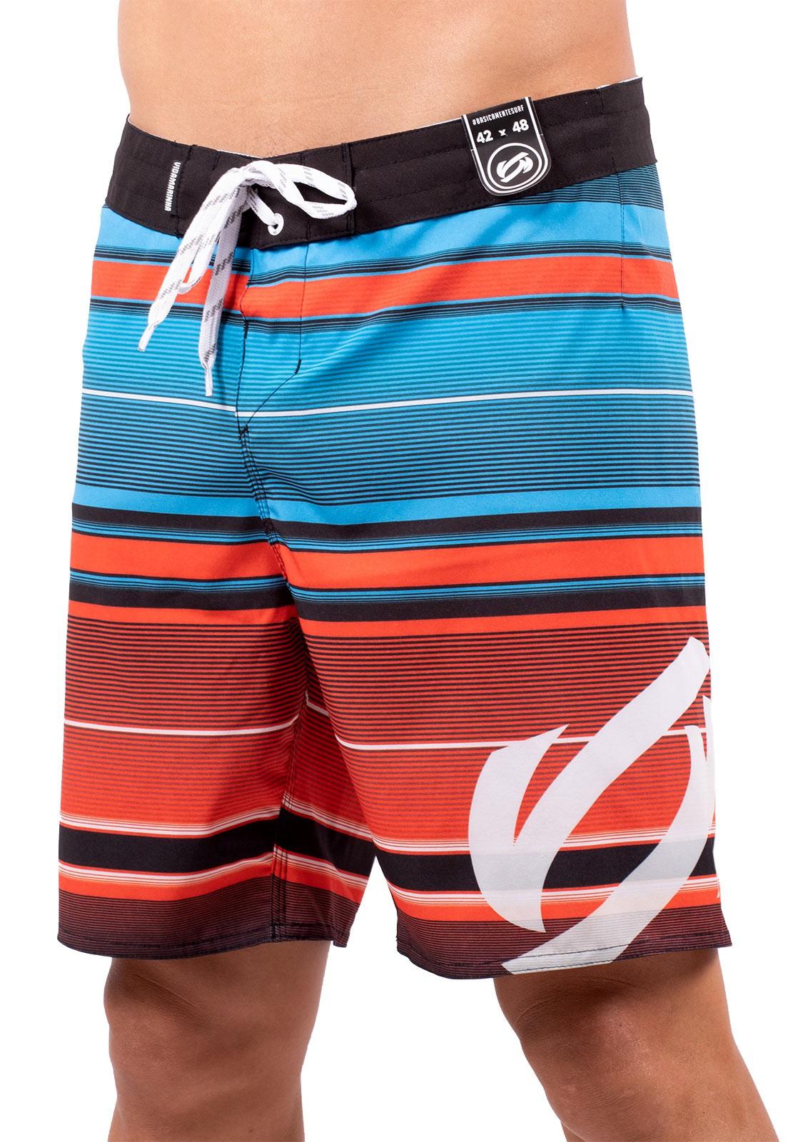Bermuda Vida Marinha Surf Preto/Azul/Vermelho