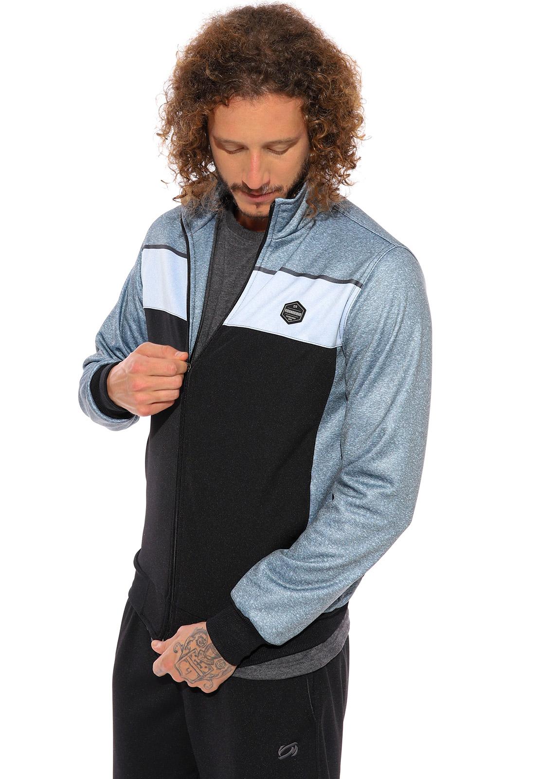 Blusa de Helanca Plus Size Vida Marinha Canguru Aberto Azul/Preto