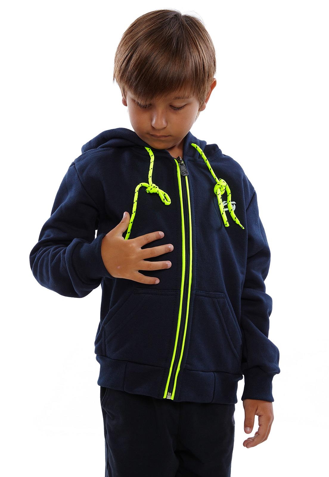 Blusa de Moletom Infantil Vida Marinha Canguru Aberto Preto com Capuz
