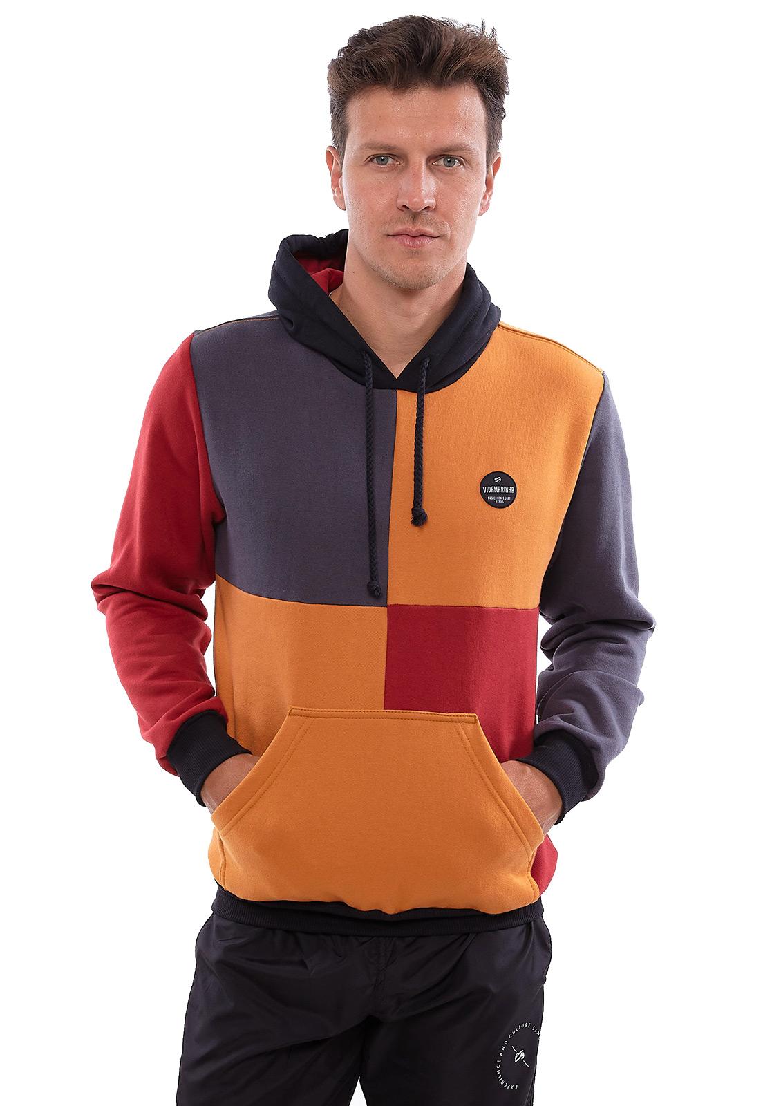 Blusa de Moletom Vida Marinha Canguru Fechado Color Blocking com Capuz