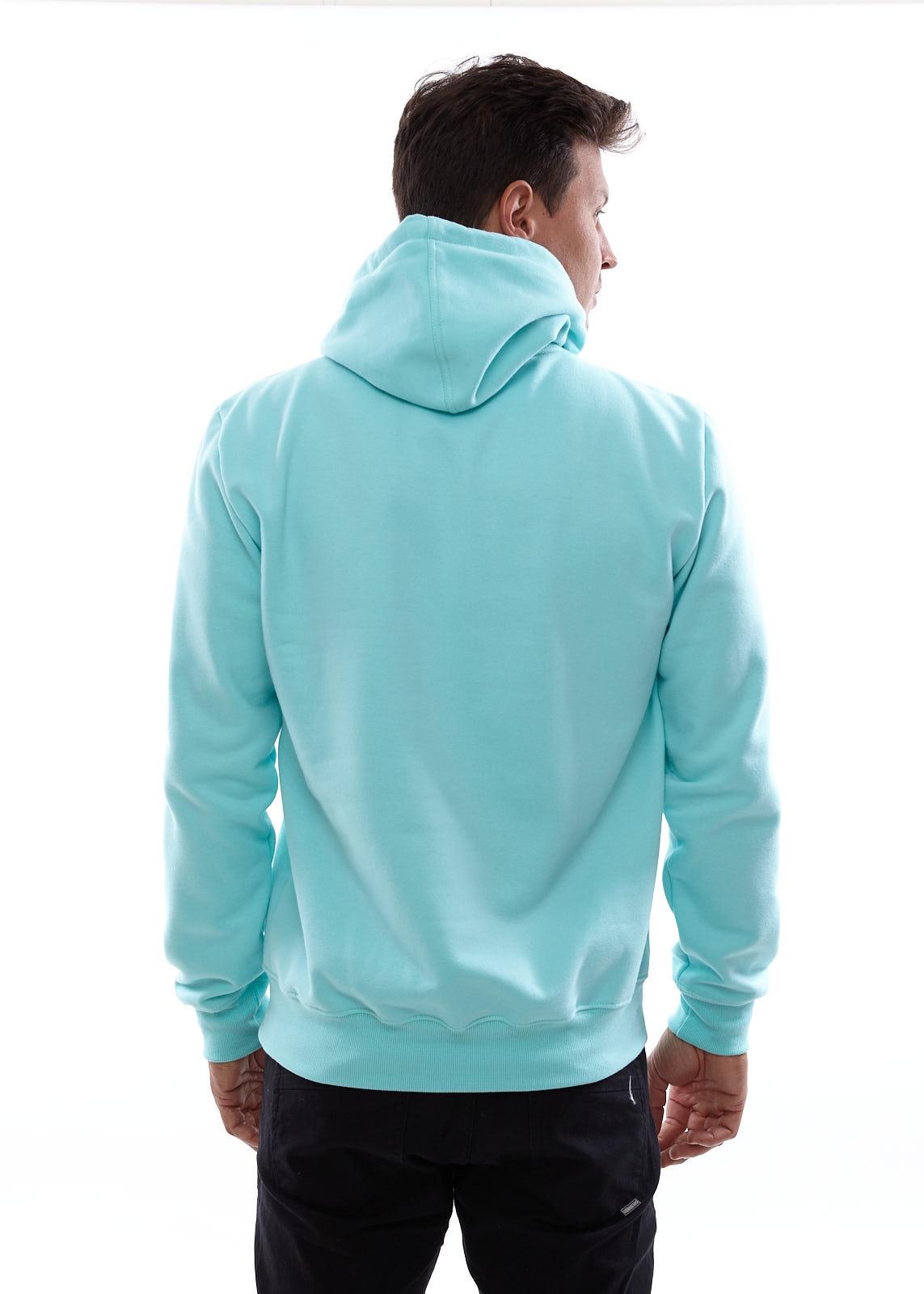 Blusa de Moletom Vida Marinha Canguru Fechado Azul com Capuz
